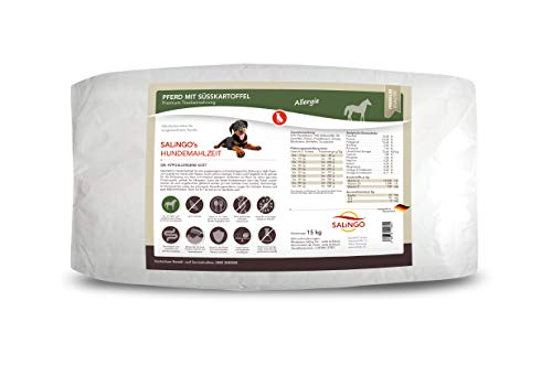 SALiNGO Premium Trockenfutter für Hunde | Hundefutter trocken Pferd mit Süßkartoffel | getreidefrei | Hoher Fleischanteil | Single Protein | hypoallergen | 15 kg