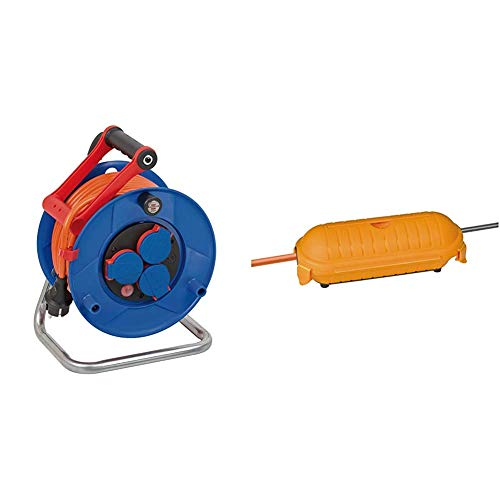 Brennenstuhl Garant IP44 Kabeltrommel (25m Kabel in orange, Spezialkunststoff, Einsatz im Außenbereich, Made in Germany) & Safe-Box Schutzkapsel für Kabel BIG IP44 outdoor gelb, 1160440