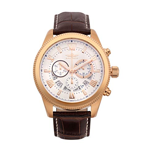 Balmer E-Type Chronograph Mens Watch - Silver Dial, Brown Croco Leather Strap, IPRG Plated