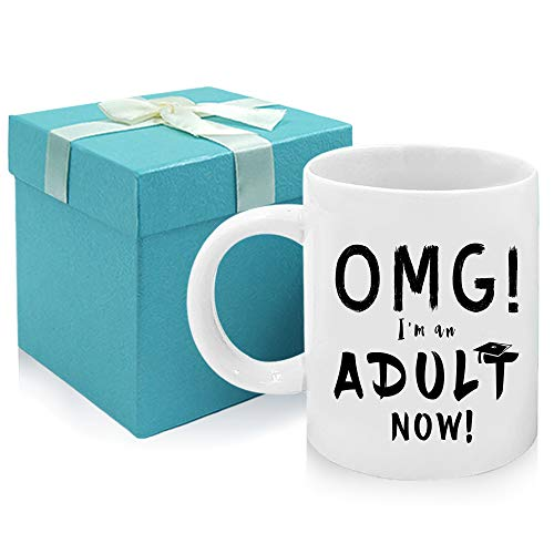 Tom Boy Funny 18th Birthday Gift OMG I'm An Adult Now Mug,Adult Gifts Graduation Pressent for Friends 11oz Coffee Mugs…