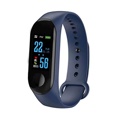 ZZH Smart Wristband Intelligente Orologio Impermeabile IP68 colorato Screen cardiofrequenzimetro Oxygen Sport – Blu