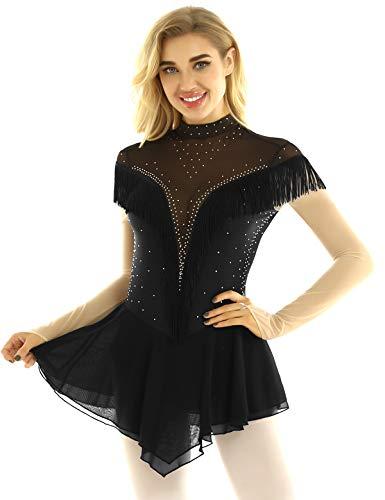 inhzoy Maillot de Patinaje Artístico con Falda para Mujer Vestido de Danza Ballet Lentejuelas Manga Larga Body Leotardo Flecos Gimnasia Rítmica