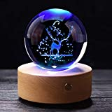 3D Elk Crystal Ball with Wood Stand, Christmas Deer Ornaments Figures Snowflake Snow Globe Decor Glass Ball, Gift for Friend, Dad, Kids, and More (3.15 inch, 80mm)