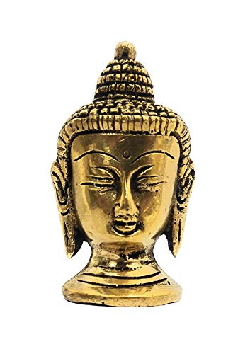 athizay Buddha for Table Top Brass Metal Golden Antique Finish Usage Paper Weight Decorative Item Showpiece (7 cm Tall)
