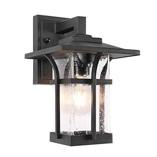 Outdoor Wall Porch Light , Wall Sconce for Porch , Patio, Deck and More, E26 Socket(Bulb NOT Included), Suitable for Wet Location, Black Powder Coat Cast Aluminum with Beveled Glass(1pack)