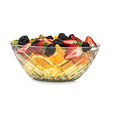 Zanzer Large Serving Bowl With Alternating Etched Diagonal Pattern - 71 Oz - For Fruits & Salads