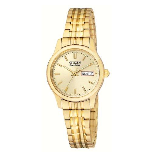 Citizen #EW3152-95A, orologio da donna con sistema Eco-Drive e cinturino flessibile dorato