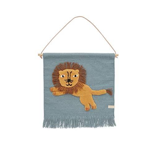 OYOY Mini Jumping Lion Wallhanger für Kinder - Wandteppich Kinderzimmer Löwe aus Wolle-Baumwolle 55x52 cm