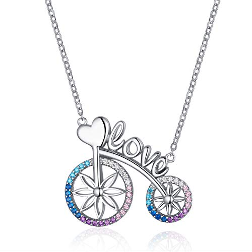 Romantische Liefde Fiets Fiets Ketting voor Vrouwen Valentijnsgeschenk 925 Sterling zilveren Ketting Korte Kettingen Sieraden