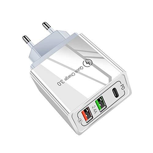 Monnadu Cargador Rápido De Enchufe USB con 3 Puertos USB PD 18W QC3.0 Adaptador De Cargador De Pared De Carga Rápida Compatible con iOS Y Android para El Hogar/Oficina Enchufe de la UE