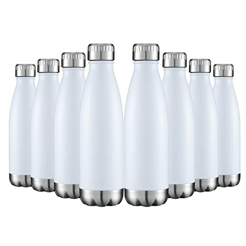 Water Bottles 8 Packs in Bulk Stainless Steel 17oz, Insulated Double Walled Vacuum Sports Fitness Hot Cold Reusable Beach Thermoses, Cola Shape Travel Metal Flask Leak Proof Gifts for Cycling White