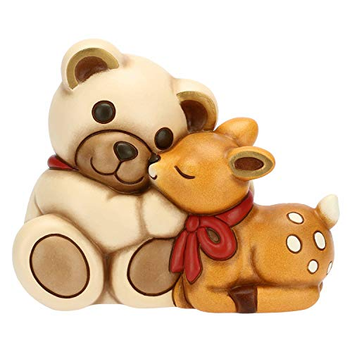 THUN ® - Teddy con Cerbiatto - Formato Medio - Linea Preludio d'inverno - Ceramica - h 14,2x17,7x10,5 cm