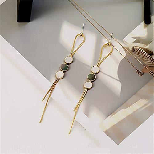 Pendientes bohemios geométricos con borla geométrica, estilo vintage, para invierno, con conchas redondas, largos, para mujeres, fiestas, bodas, accesorios de joyería