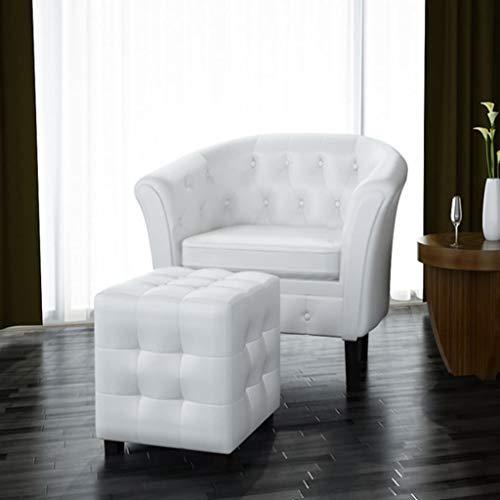 Zora Walter Sofa Couch Sessel mit Fu?hocker Kunstleder Wei? Clubsessel Fernsehsessel Loungesessel...