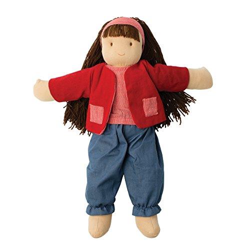 Hoppa - Puppe Suzanne, Stoffpuppe mit Kleidung und Haaren - 40 cm - Kinderspiele ab 18 Monaten