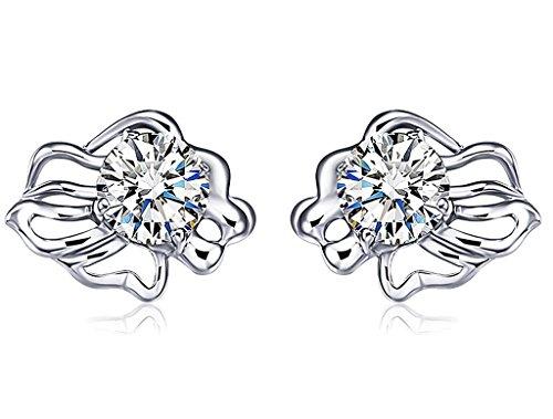 Unendlich U 925 Sterling Silber Zirkonia 12 Sternbild Löwe Ohrstecker Sternzeichen Ohrringe Ohrschmuck für Damen/Mädchen