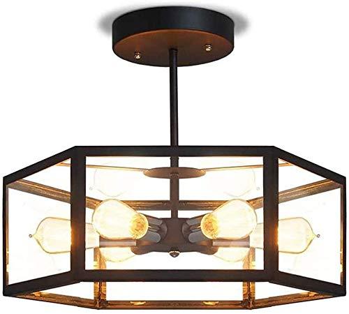 "WWK 19"" Vintage Antique Ceiling Light, Hexagon 6-Lights Chandelier Clear Glass Island Lights Matte Black,semi-Flush Mount Rustic Decor Ceiling Lamp"