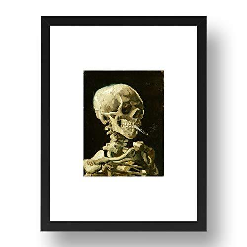 Vincent van Gogh: Totenkopf eines Skeletts mit brennender Zigarette 1986 Marietorp, Vintage-Kunst, A3, 43,2 x 33 cm (A3) schwarzer Rahmen