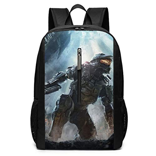Halo Guardians 17 Inch School Bag Mochila College Bag Laptop Mochila de gran capacidad (negro)