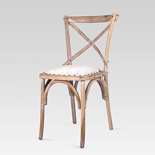 Rikmani - Möbel Handarbeit – Designstuhl mit Ziegenfell – Teakholz Stuhl – Wohnzimmer - Deko (1 Stück)