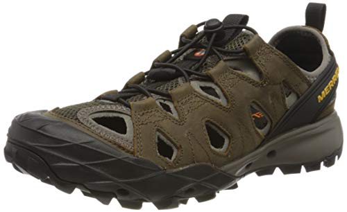 Merrell Choprock Leather Shandal, Zapatillas Impermeables para Hombre, Marrón (Cloudy/Gold), 41 EU