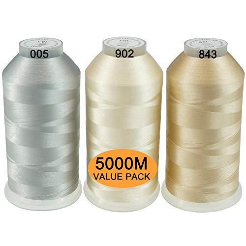 New brothread Conjunto de 3 Neutros Colores Poliéster Bordado Máquina Hilo Grande Carrete 5000M para Todas Las máquinas de Bordado
