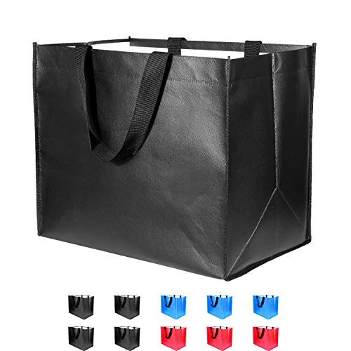 Large Reusable Grocery Bags 10 Pack Heavy Duty, Reinforced Handles with X Stitching Hold 50 lbs, Durable Shopping Tote Bags Foldable, Washable & Eco-Friendly, 10 Years Warranty, 3 Colors