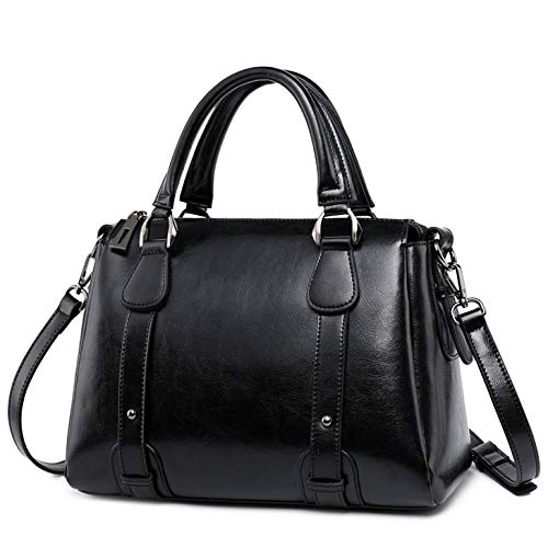 Iswee Women Handbags Tote Office Shoulder Bag Vintage Medium Satchel Work Purse (Black)