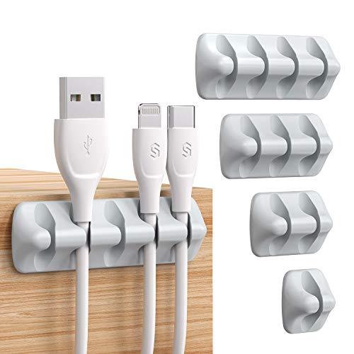 Syncwire Organizador Clip de cable [5 unidades] administrador mini soporte de cable con ganchos adhesivos Soporte para cable de alimentación y accesorio de carga cable de mouse, PC, oficina y hogar
