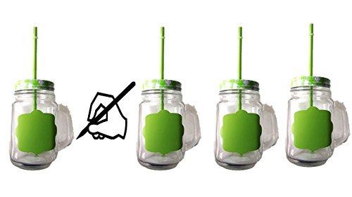 Glasbecher mit Henkel, Deckel und Trinkhalm