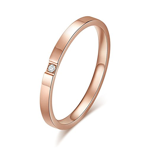 AnazoZ Women Rings Stainless Steel,Round and Cubic Zirconia 2MM Women Ring Rose Gold Ring Size N 1/2