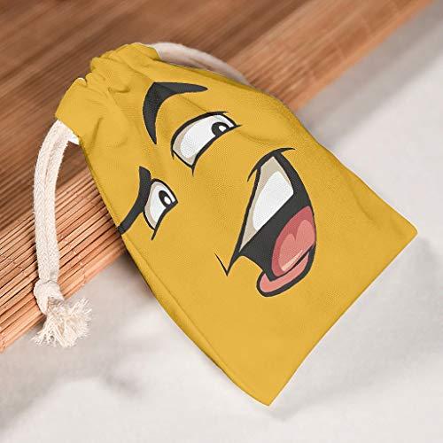 XJJ88 12 Stück Show Off Yellow Face Drawstring Canvas Bags – Funny Expression Style Print Atmungsaktiv Beutel Beutel Anzug für Valentinstag Hochzeit Geschenke Wickeltasche, Baumwolle, weiß, 20 * 25cm