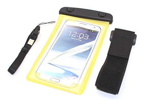 """NorthLogic """"Yellow"""" Universal Waterproof Pouch Bag Case Cover for iPhone 5S / iPhone 5 / iPhone 4S / iPhone 4 / Samsung Galaxy S3 / Galaxy S4 / Galaxy S5 / Note 2 / Note 3 Smartphones With Screen Sizes Up To 5.7"""" Waterproof Pouch Bag Case Cover For Cellphones , Best For Swimming, Jogging or Outdoor Activities, Included Armband and Neckstrap"""