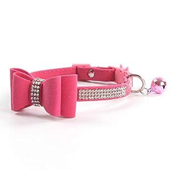 Collier de chat rose YCZ avec noeud et Betty avec colliers souples en cristal et strass et conception de sécurité Pop Convient à tous les chats domestiques-1 pièce