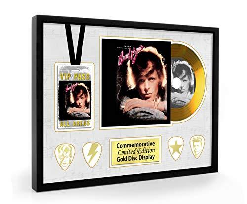 We Love Guitars David Bowie Young Americans Disque CD, Passe et plectres EGA A4 Or encadrés