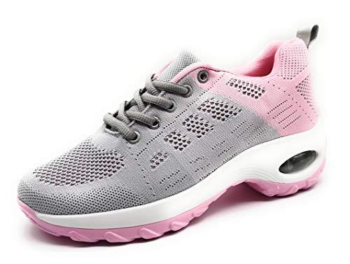 Zapatillas Deportivas para Mujer con Cuña de Camara de Aire Muy Transpirables y Ligeras con Bmabas con Plataforma Moda Deportiva Gris Rosa 38