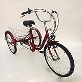 Triciclo de adultos de 6 velocidades con 3 ruedas de 3 ruedas de color rojo para adultos con cesta triciclo para adultos con lámpara.
