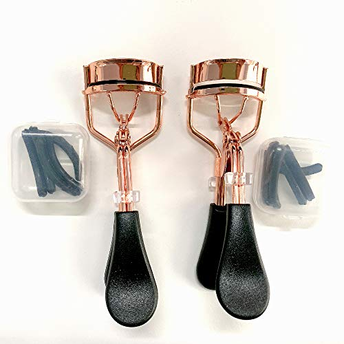 2x Wimpernzange, Eyelash Curler mit 8 Ersatz-Gummi-Pads - Das Make-Up Tool Für perfekt geschwungene Wimpern aus hochwertigem Carbonstahl