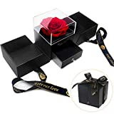 E-MANIS Handmade Preserved Rose Jewelry Gift Box Real Eternal Red Roses Enchanted Flower Gift for Girlfriend Mother Wife on Anniversary Valentine's Day Mother's Day Christmas Day Thanksgiving Day