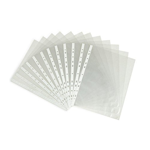 AUCH 100 Sheets Clear Non Glare Loose Leaf A4 Paper File Letter Sheet Protectors, 11 Hole Fits for 2, 3, 4, and 11 Ring Binders (0.06mm)
