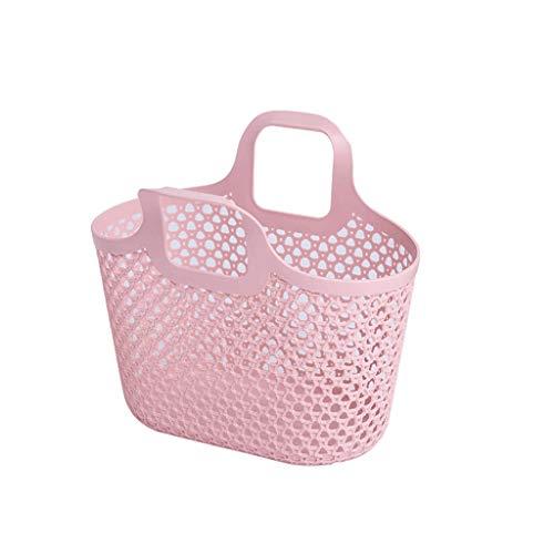 SAP- Panier à Linge en Plastique Panier Maison Grand Panier à Linge Salle de Bains Sale Linge Panier de Rangement Panier de Rangement vêtements Respirant (Color : Pink)