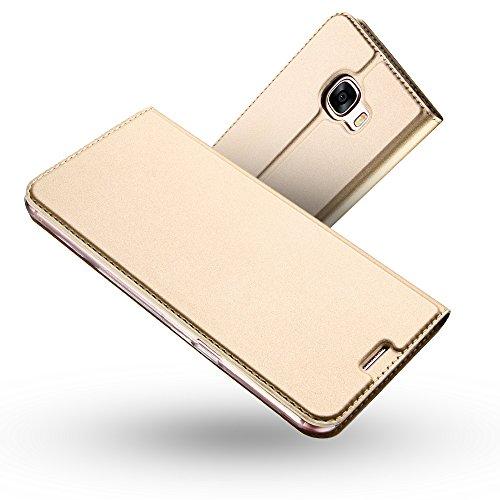 Radoo Galaxy A3 2017 Hülle, Premium PU Leder Handyhülle Brieftasche-Stil Magnetisch Folio Flip Klapphülle Etui Brieftasche Hülle Schutzhülle Tasche Case Cover für Samsung Galaxy A3 2017 (Gold)