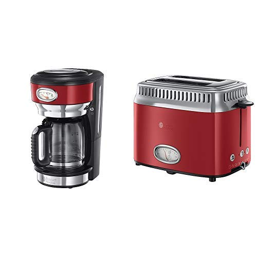 Russell Hobbs 21700-56 Glas-Kaffeemaschine Retro Ribbon Red, 1.25l, Retro Brüh- und Warmhalteanzeige, 1000 Watt, rot & Russell Hobbs 21680-56 Toaster Retro Ribbon Red