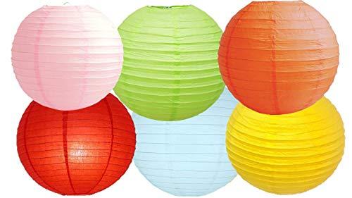 "Farolillos de papel surtidos paquetes de 6 linternas de papel redondas para decoración de fiesta, metal, Mix Color 2, 16"" (40 Cm)"