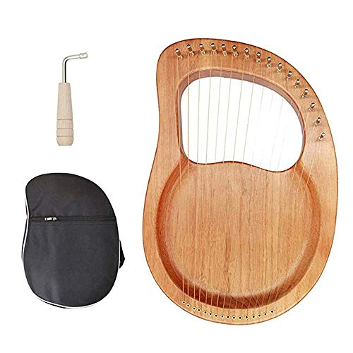 LQKYWNA 16 String Beginner Small Harp Mahogany Harp with Storage Bag Original Strings and Cleaning Cloth for Plucked String Instrument Learning