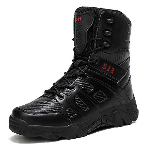 Botas Militares Hombre Cuero Zapatillas de Trail Impermeables Cordones High Top Calzado de Trekking Sintético Cuero Ultraligeras Camping Aire Libre
