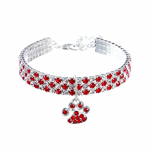 Flashing Collar de huellas de gatos, collar hecho por el hombre, collar para mascotas, color mixto, elástico, collar de joyería para perros (color: rojo, tamaño: 30 cm + 5 cm)