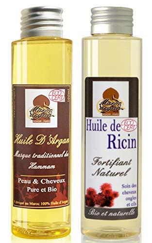 Soin Duo Cheveux Sublime- Croissance et brillance du cheveu- Huile D'Argan (100ml) & Huile de Ricin (100ml)