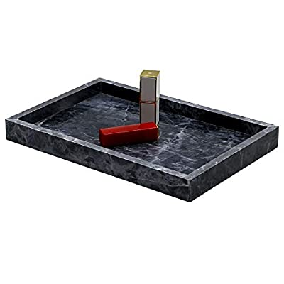 """LUANT Marble Stone Decorative Tray for Counter, Vanity, Dresser, nightstand or Desk, 11-9/16"""" X 8"""", Black"""