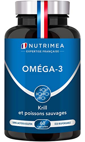 Omega 3 et Krill d'Antarctique | Cognition, Santé cardiaque et Système immunitaire | Huile de poissons sauvages pure | Fish oil Haute concentration en EPA/DHA | Fabrication Française | Nutrimea